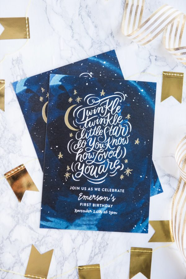 Modern First Birthday Party Invitations | First birthday party ideas, twinkle twinkle little star party and more from @cydconverse