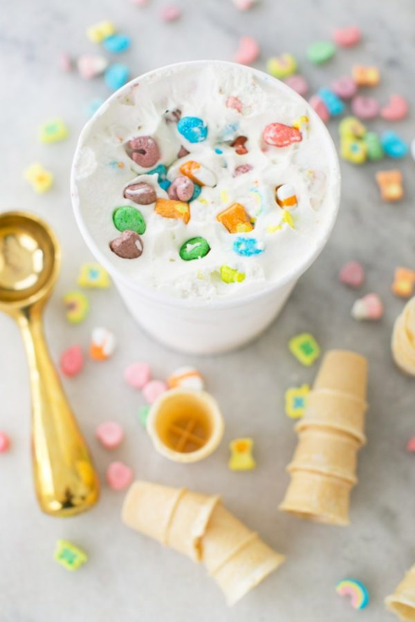 Lucky Charms Ice Cream | Lucky Charms recipes, St. Patrick's Day dessert, St. Patrick's Day ideas and more from @cydconverse