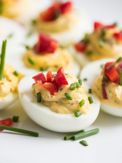 Red Pepper + Chive Deviled Eggs thumbnail