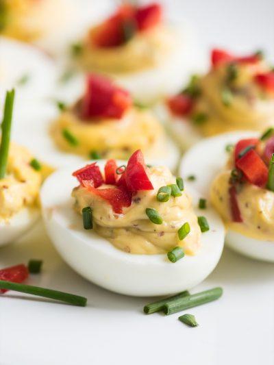 Red Pepper + Chive Deviled Eggs thumbnail