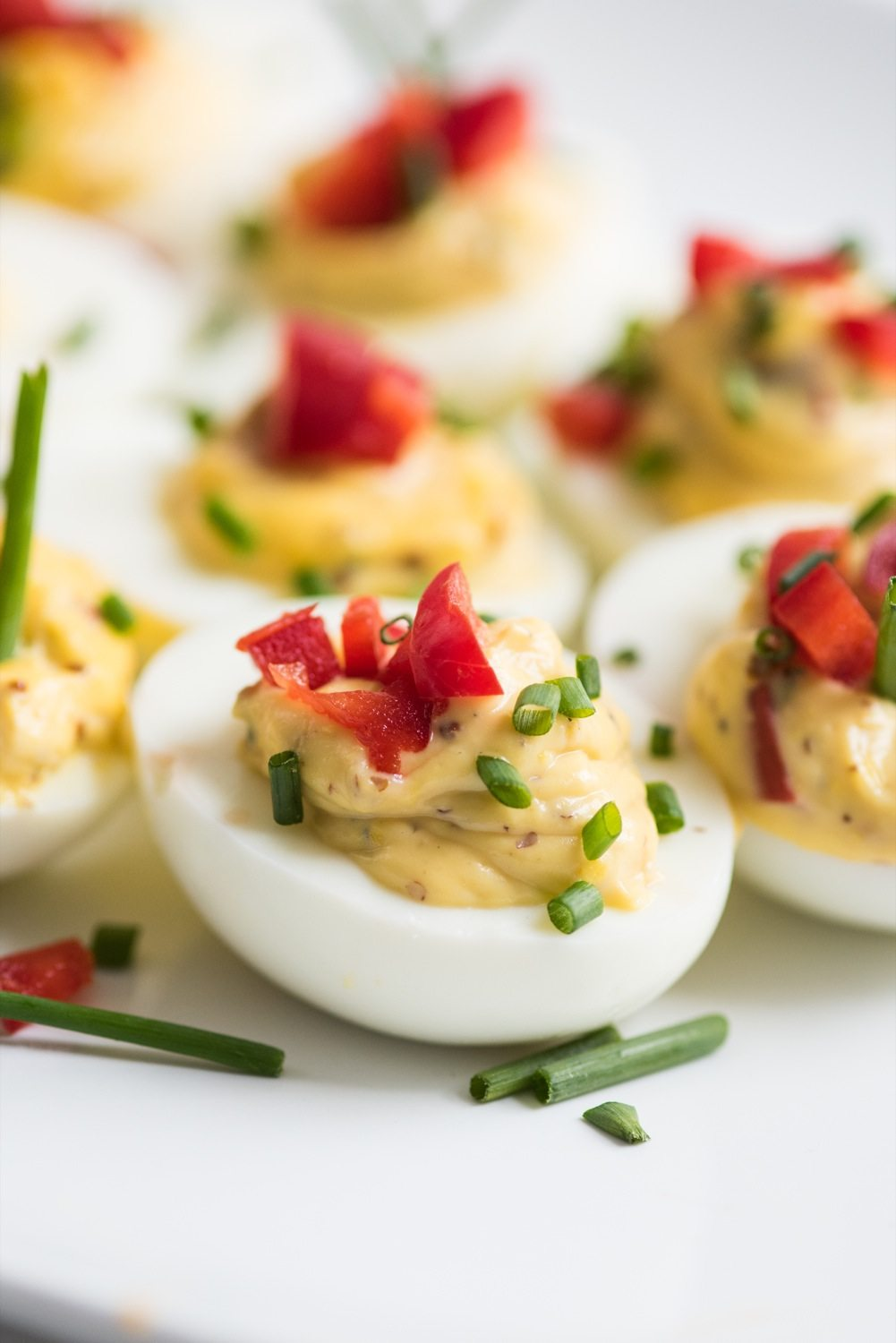 Red Pepper + Chive Deviled Eggs