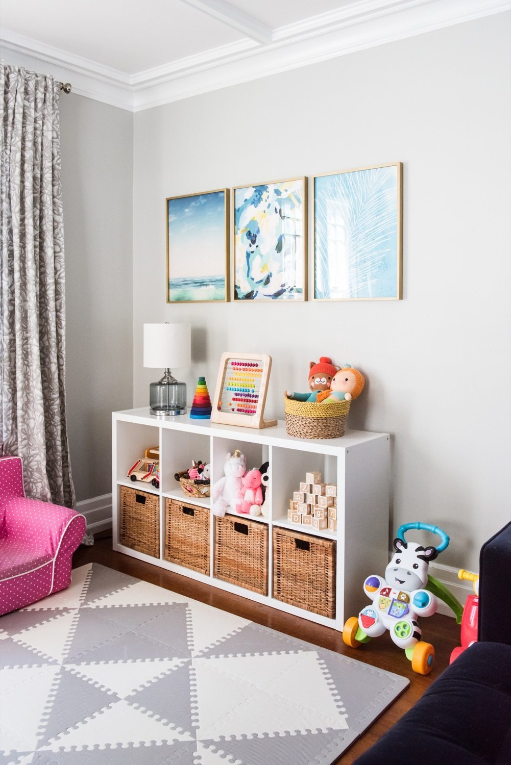 Emerson 39 s modern playroom tour the sweetest occasion for Living room ideas kids