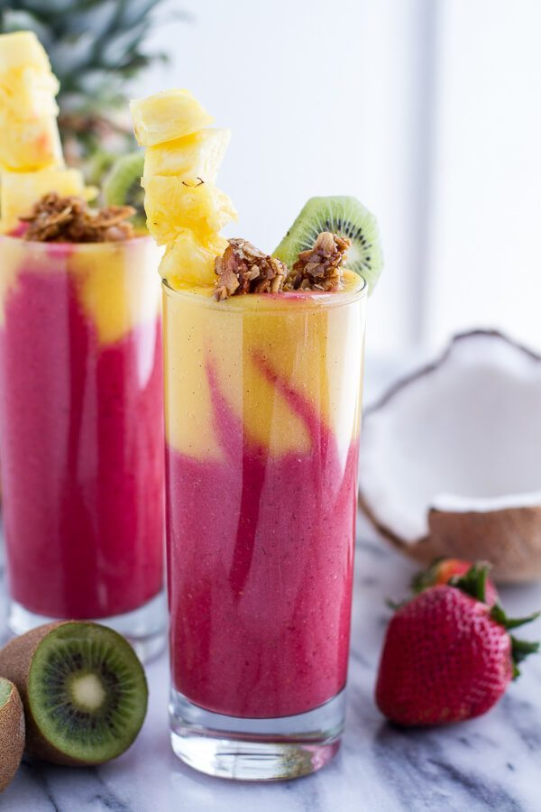 Tropical Fruit Breakfast Smoothie Recipe | 12 Summer Smoothies plus loads of party recipes, entertaining tips, cocktail recipes and more from @cydconverse