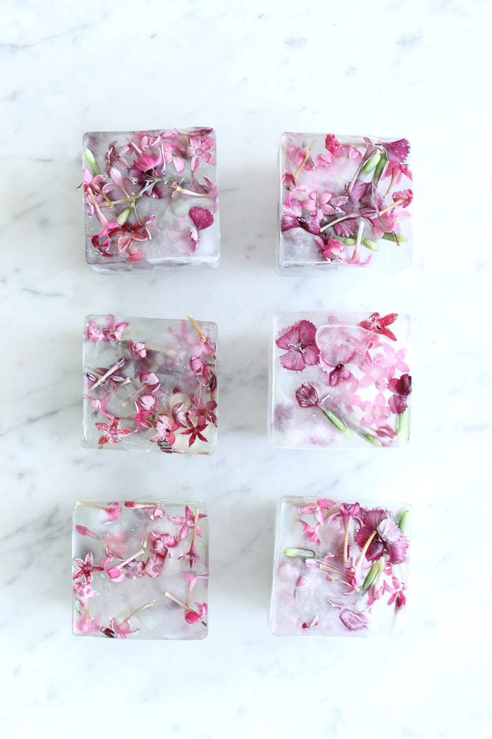 DIY Pink Floral Ice Cubes | Summer entertaining, summer party ideas and more from @cydconverse