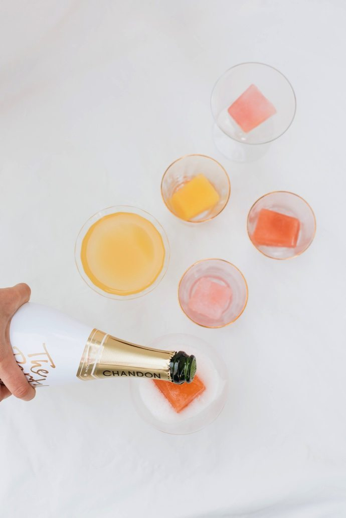 Mimosa Ice Cubes | Summer entertaining, summer party ideas and more from @cydconverse