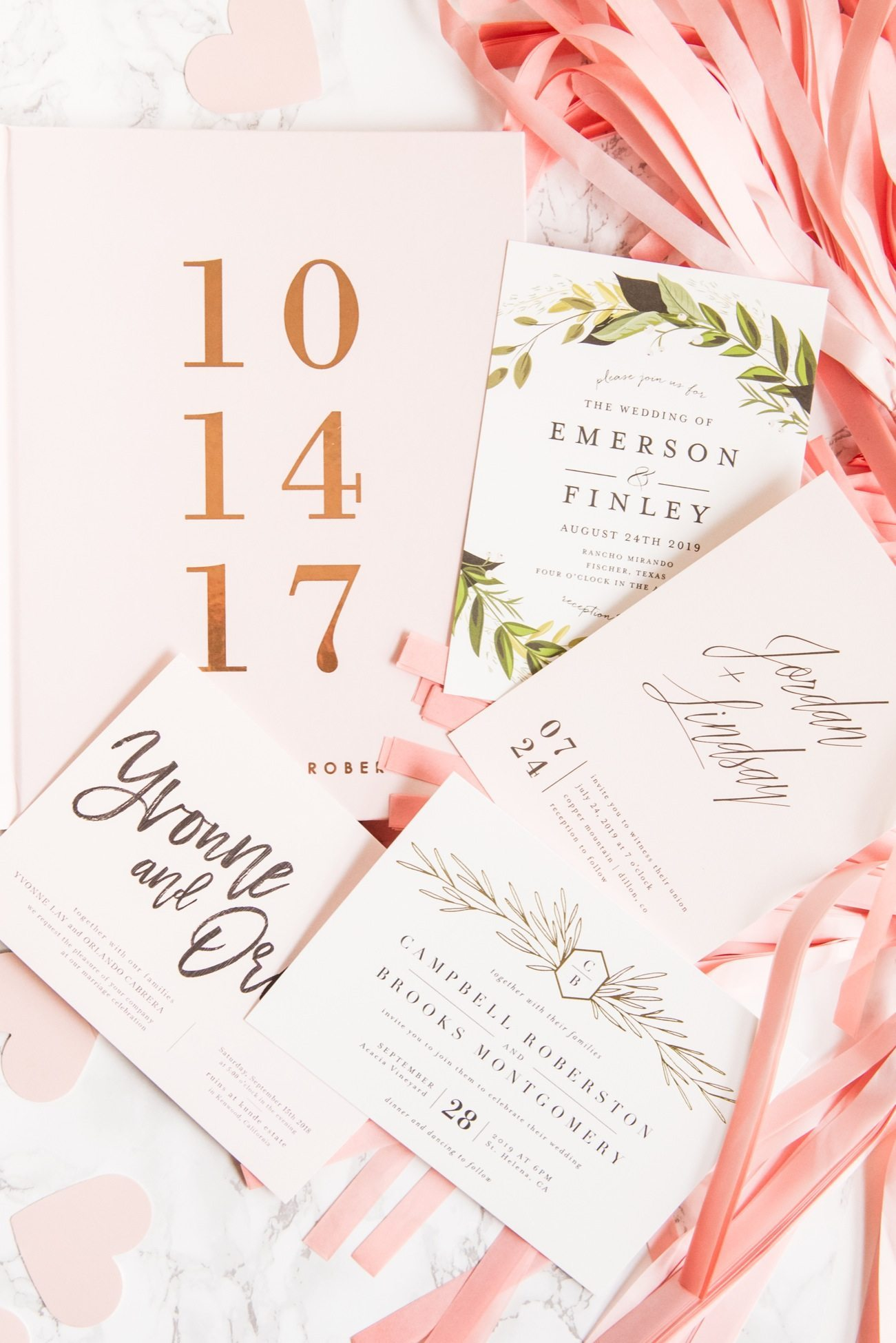 Modern gold foil, hand lettered wedding invitations | Wedding ideas, entertaining tips, wedding planning tips, party ideas and more from @cydconverse