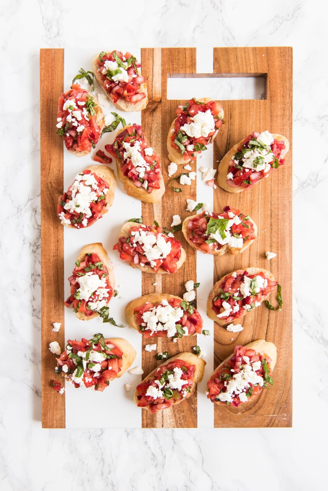 Strawberry Feta Bruschetta Recipe | Entertaining ideas, party appetizers, cocktail recipes, party ideas and more from @cydconverse