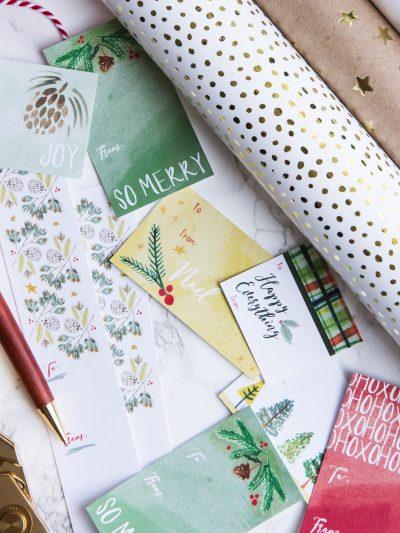 Pretty Hand-Painted Printable Holiday Gift Tags thumbnail