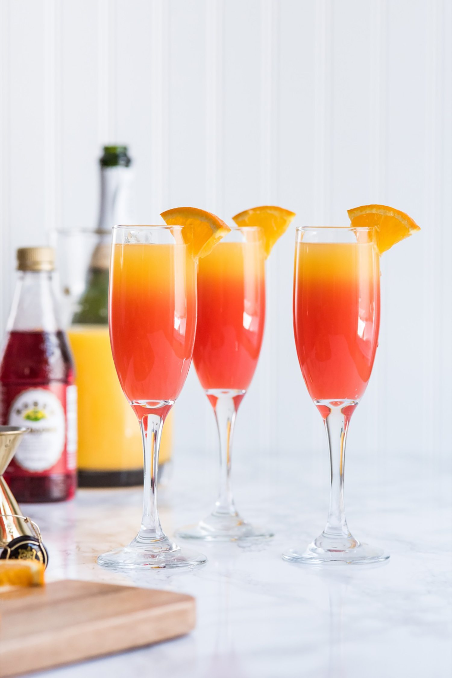 Tequila Sunrise Mimosa Recipe | Cocktail recipes, entertaining tips, party ideas, party recipes and more from @cydconverse
