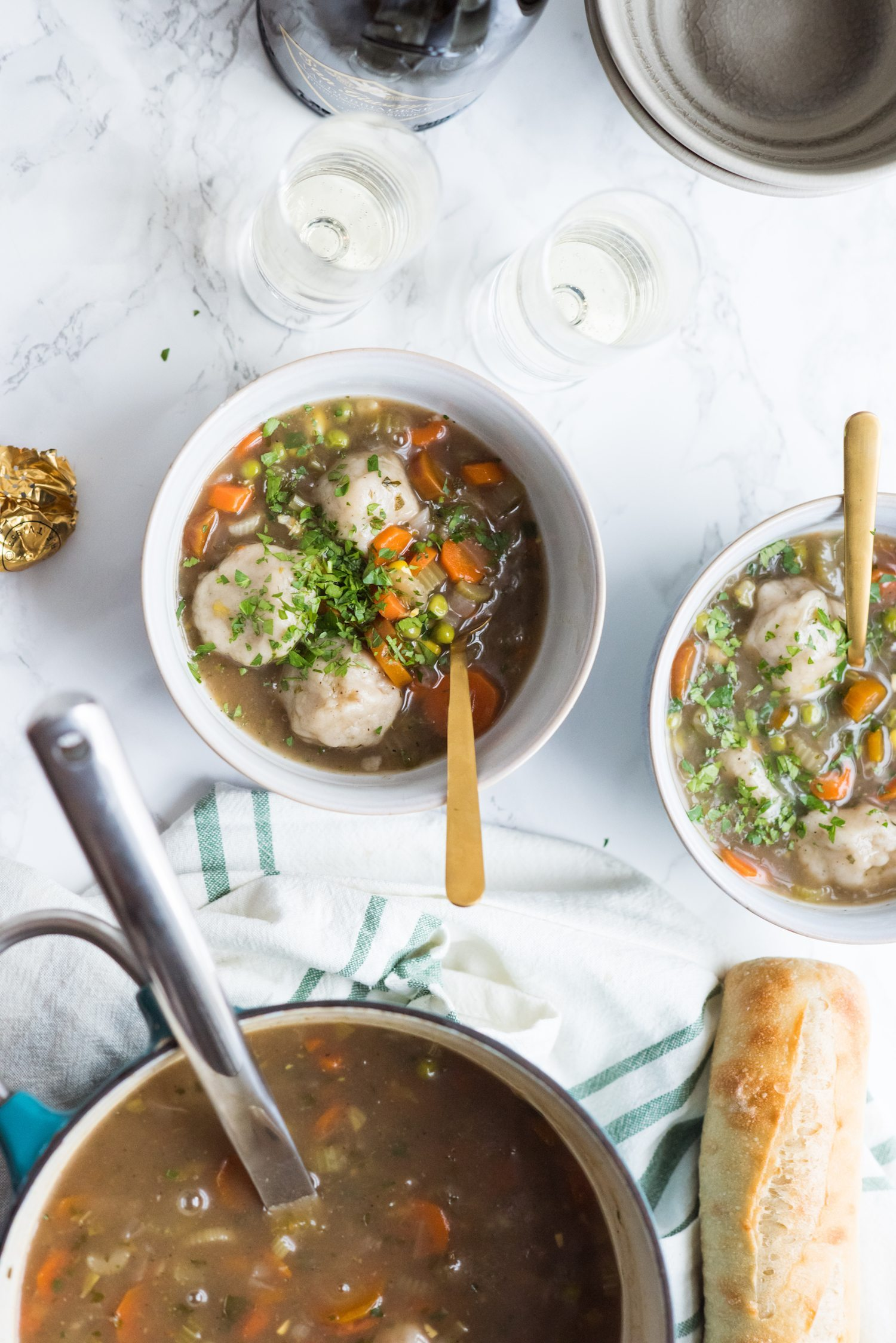 Homemade Veggie Soup with Vegan Dumplings | Entertaining tips, home renovation ideas, vegetarian recipes, party ideas and more from @cydconverse