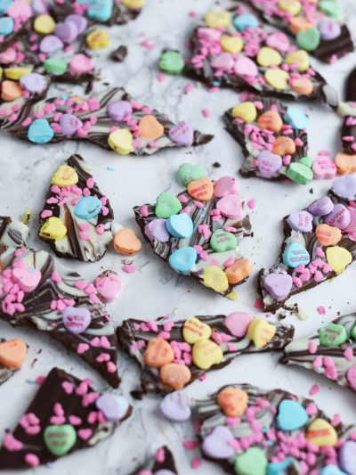 Valentine's Day Conversation Heart Chocolate Bark thumbnail