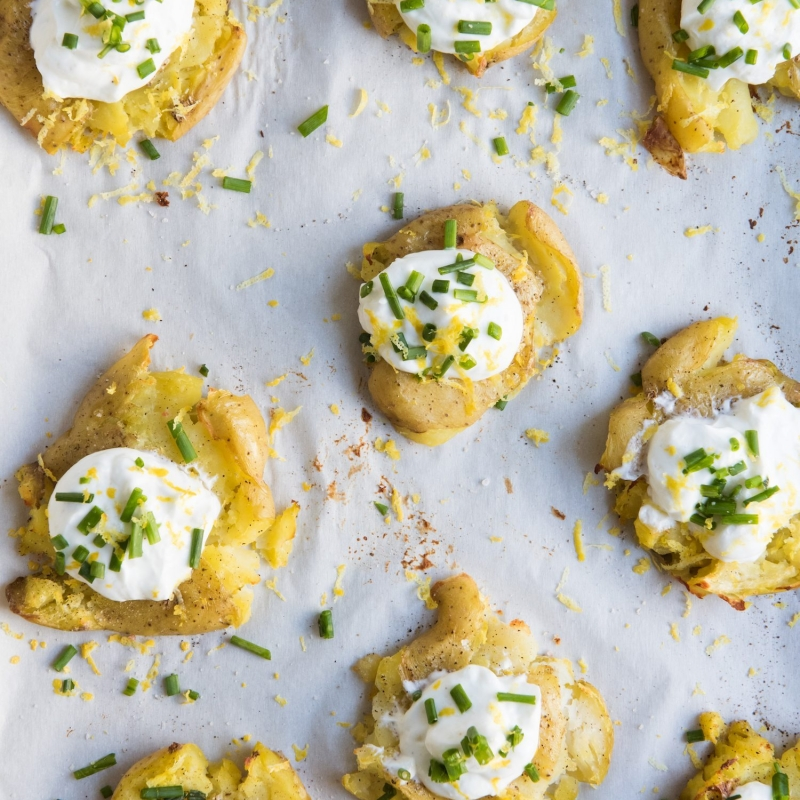 Lemon + Herb Smashed Potatoes with Greek Yogurt