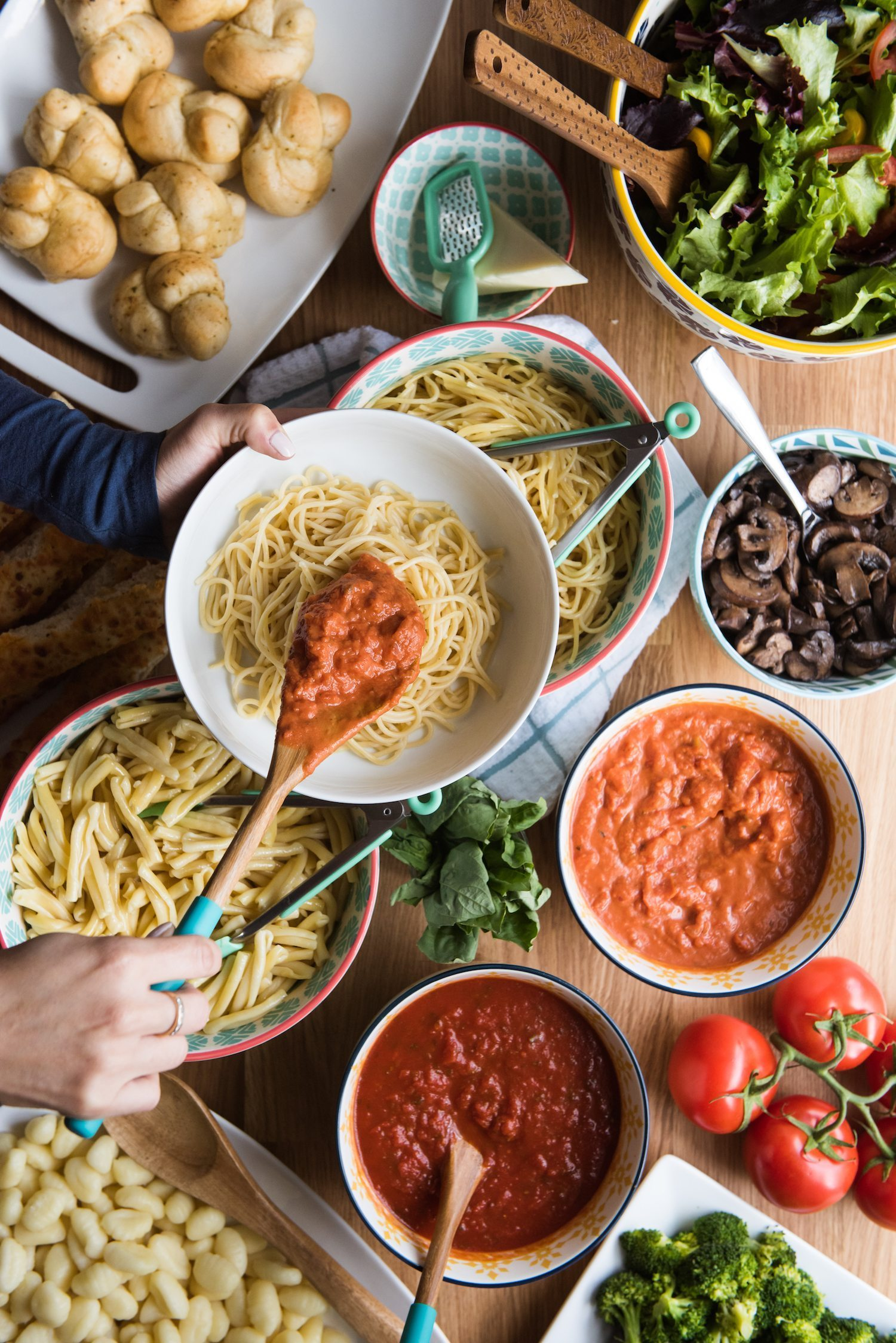Entertain with a Make Your Own Pasta Bar | Click through to visit The Sweetest Occasion for entertaining tips, party ideas, party recipes and more from @cydconverse