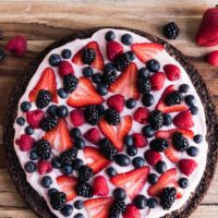 Berry Brownie Pizza with Strawberry Buttercream Frosting