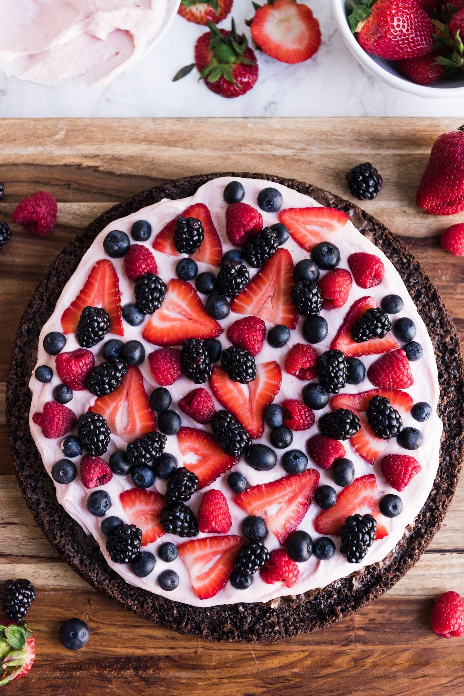 Berry Brownie Pizza with Strawberry Buttercream Frosting thumbnail