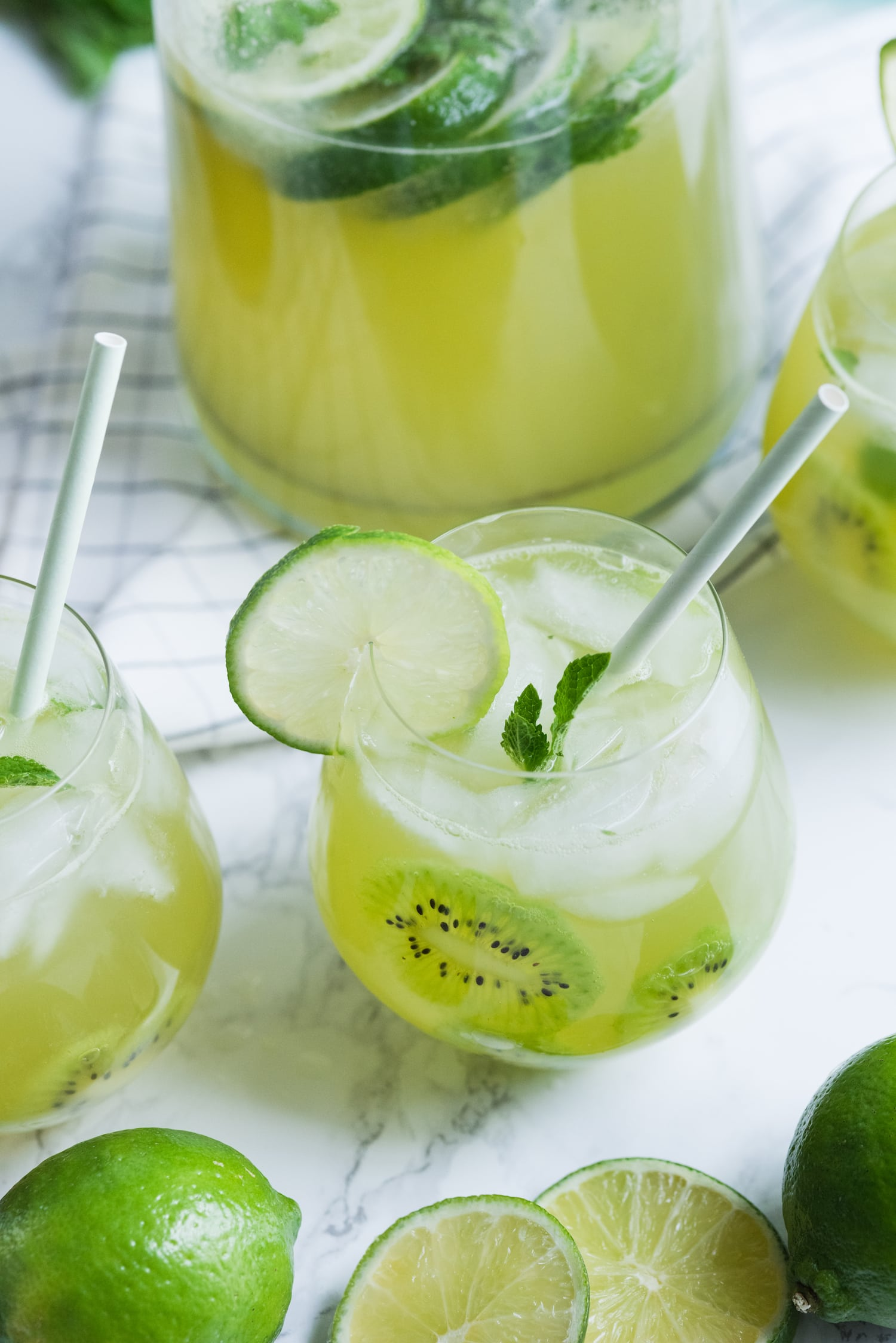 Kiwi Lime Mint Sangria Recipe | Click through for cocktail recipes, entertaining tips, party ideas, party recipes and more from @cydconverse