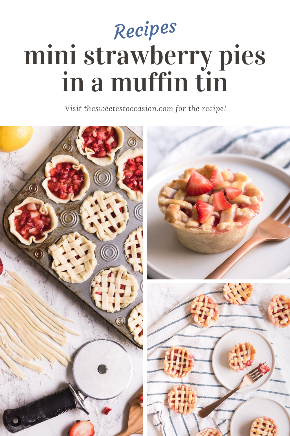 Mini Strawberry Pies in a Muffin Tin