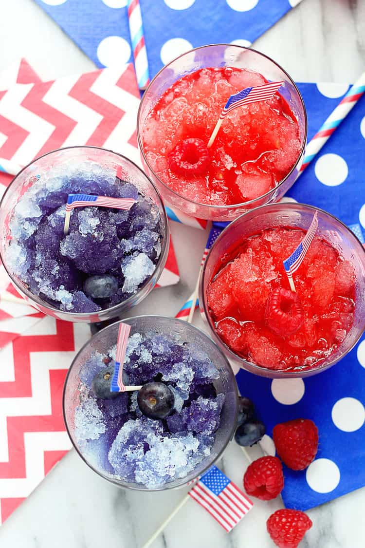 Red, white and blue spiked snow cones | 4th of July party ideas, 4th of July desserts and more from @cydconverse