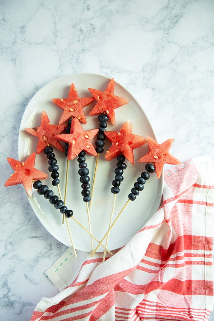 Watermelon Blueberry Skewers | 4th of July party ideas, 4th of July desserts and more from @cydconverse