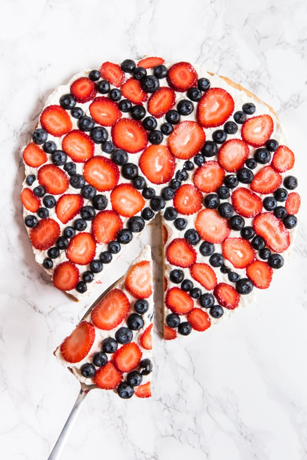 Red, White and Blue Fruit Pizza | 4th of July party ideas, 4th of July desserts and more from @cydconverse