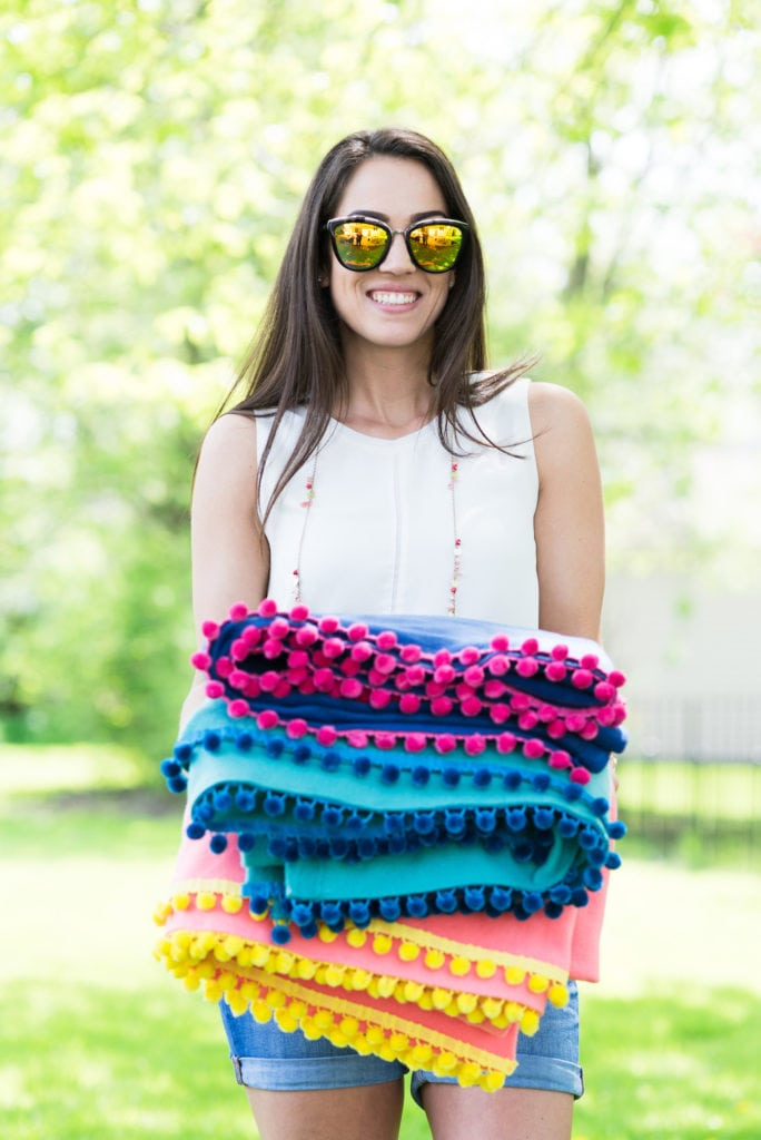 Diy No Sew Pom Pom Pool Picnic Blankets The Sweetest Occasion
