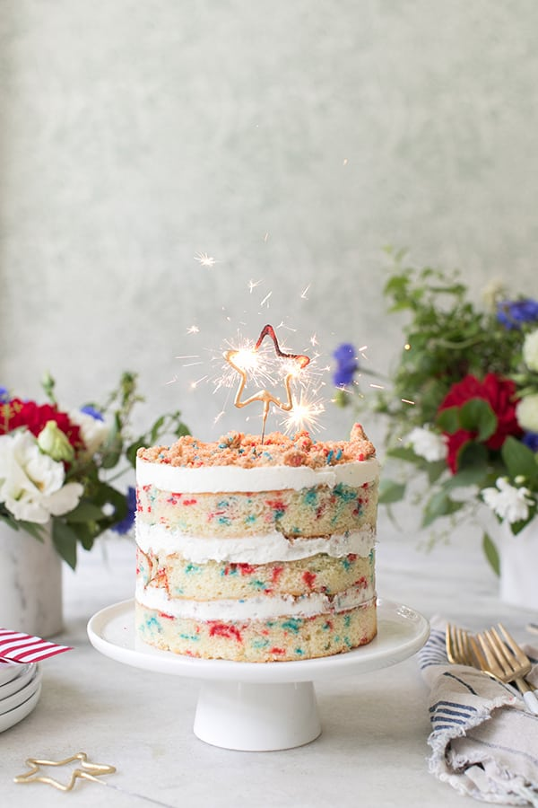 Red, White and Blue 4th of July Cake | 4th of July party ideas, 4th of July desserts and more from @cydconverse