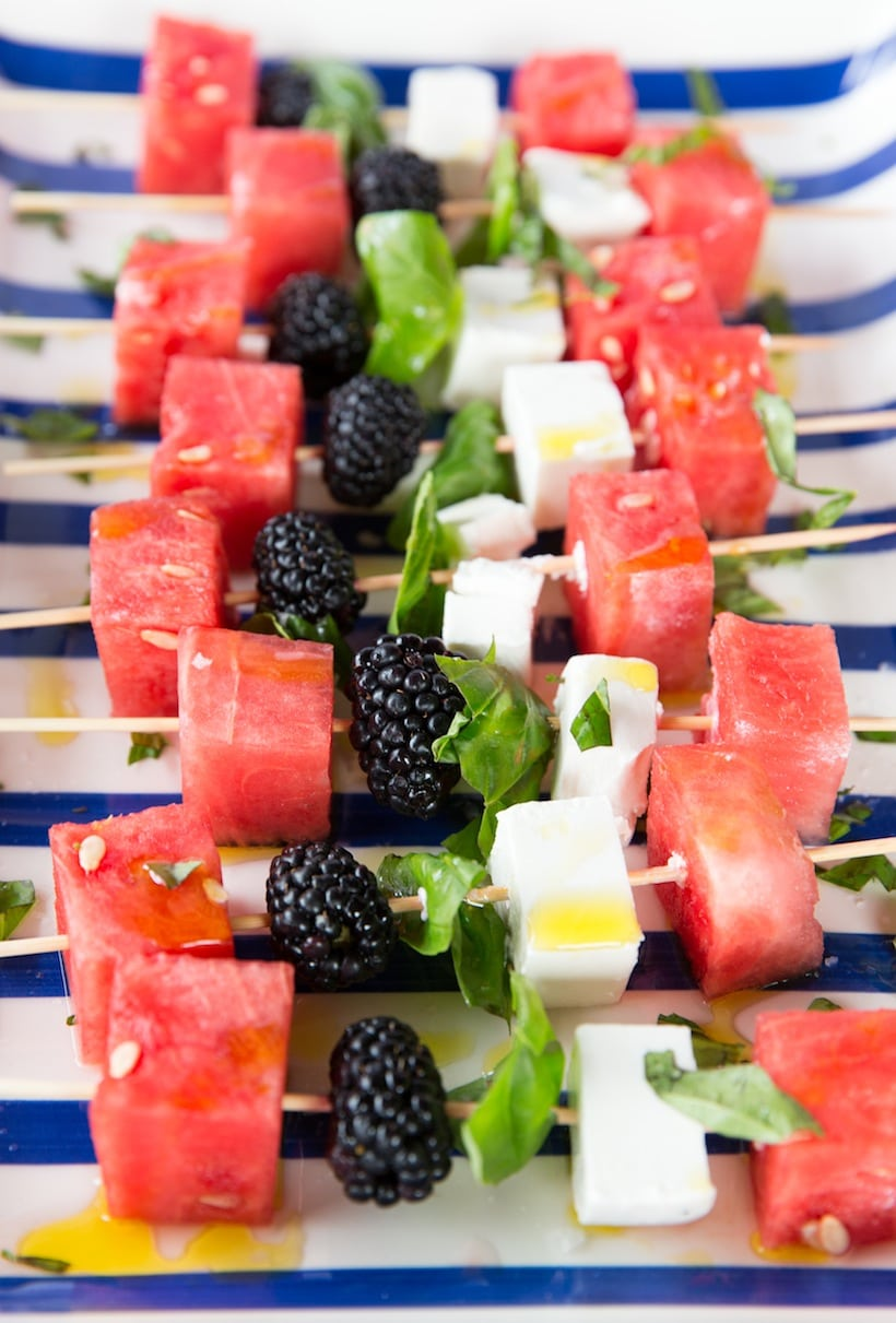 Red, White and Blue Watermelon Feta Skewers | 4th of July party ideas, 4th of July desserts and more from @cydconverse