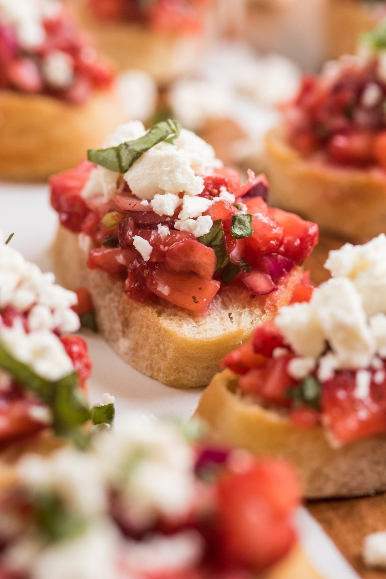 Strawberry Feta Bruschetta | 4th of July party ideas, 4th of July desserts and more from @cydconverse