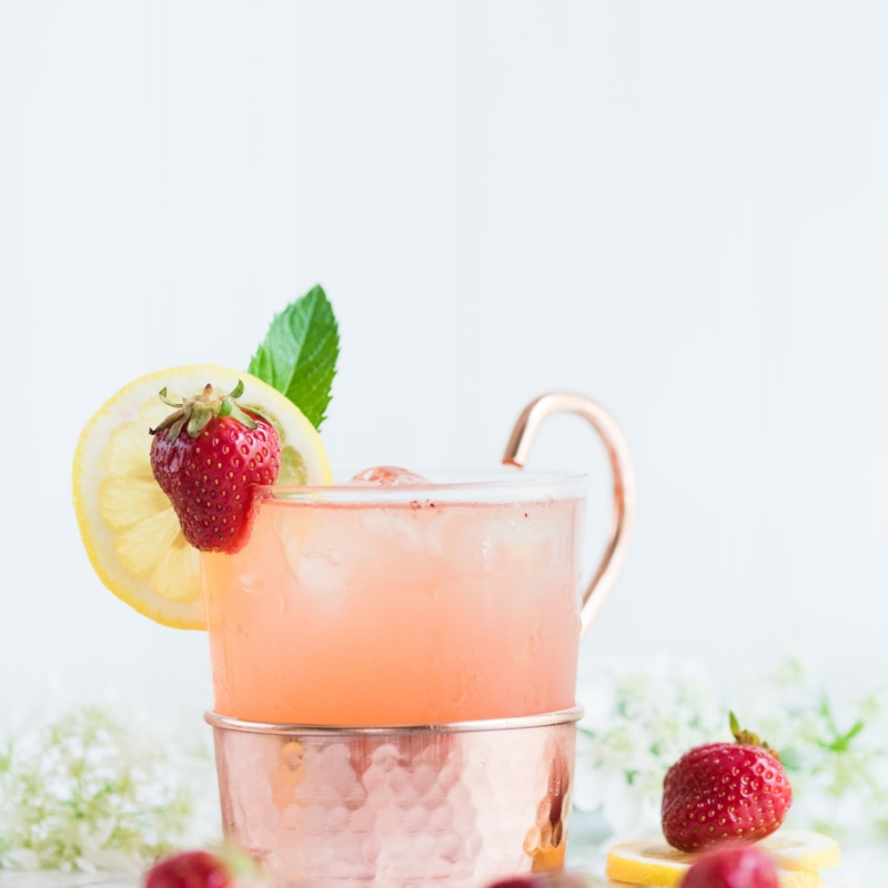 A Farm to Table Strawberry Lemonade Moscow Mule