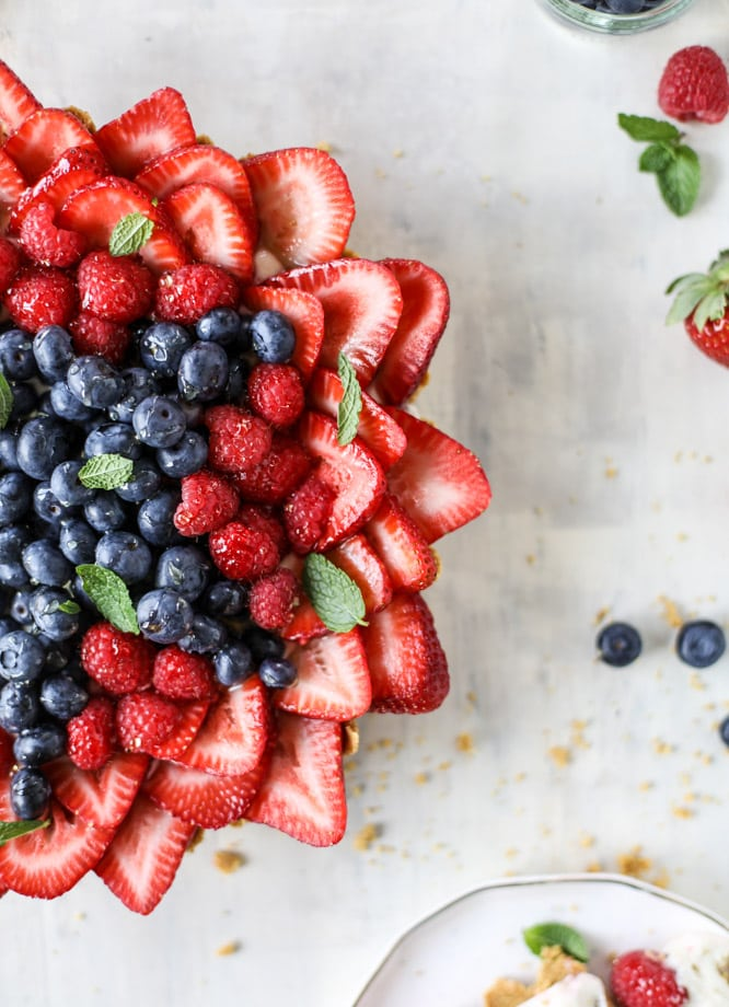 Red, White and Blue Triple Berry Star Tart | 4th of July party ideas, 4th of July desserts and more from @cydconverse