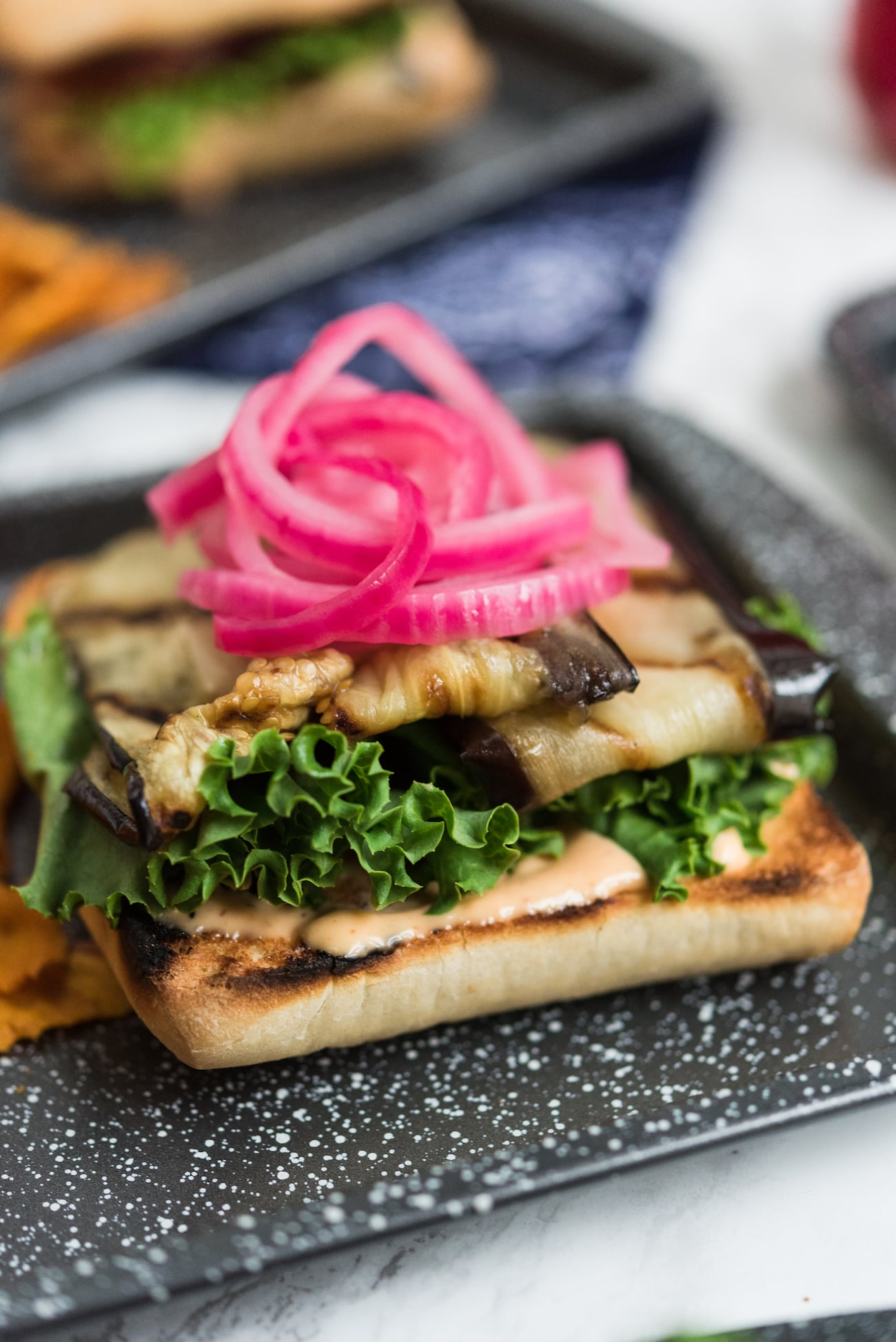 Grilled Eggplant Recipes: Grilled Eggplant Sandwiches with Easy Red Pickled Onions from entertaining blog @cydconverse