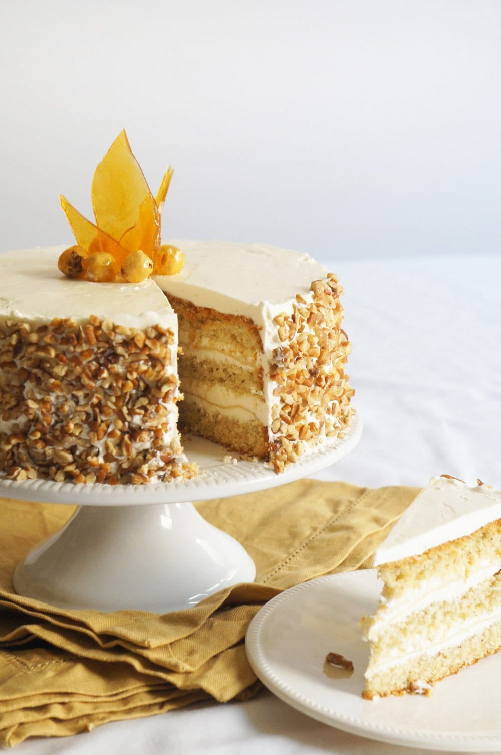 Hazelnut Cake with Apple Buttercream | Thanksgiving recipes via entertaining blog @cydconverse