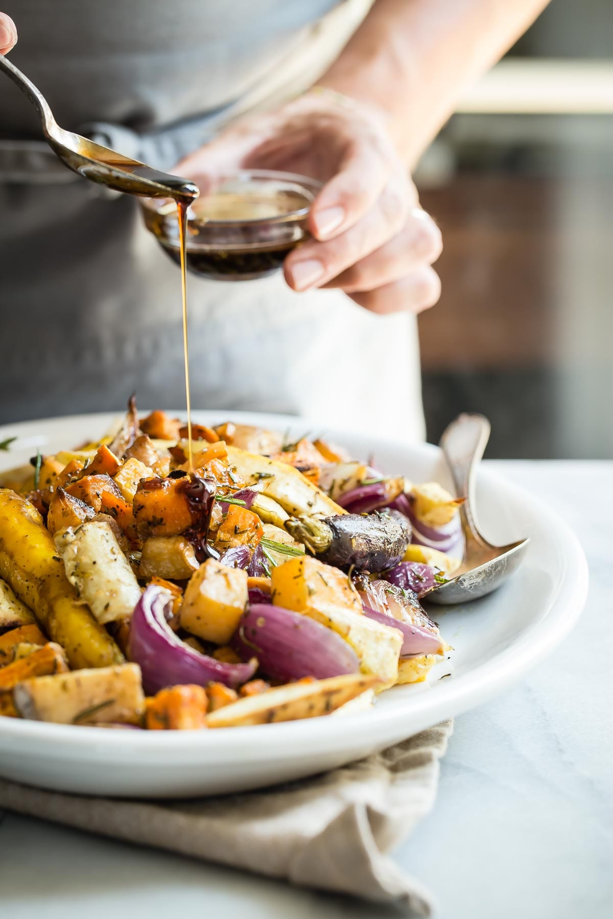 Maple Roasted Root Vegetables | Thanksgiving recipes via entertaining blog @cydconverse