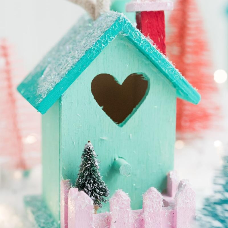 DIY Mini Birdhouse Christmas Village Ornaments