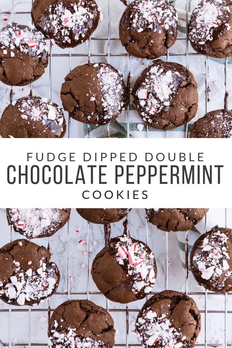 Fudge Dipped Double Chocolate Peppermint Cookies