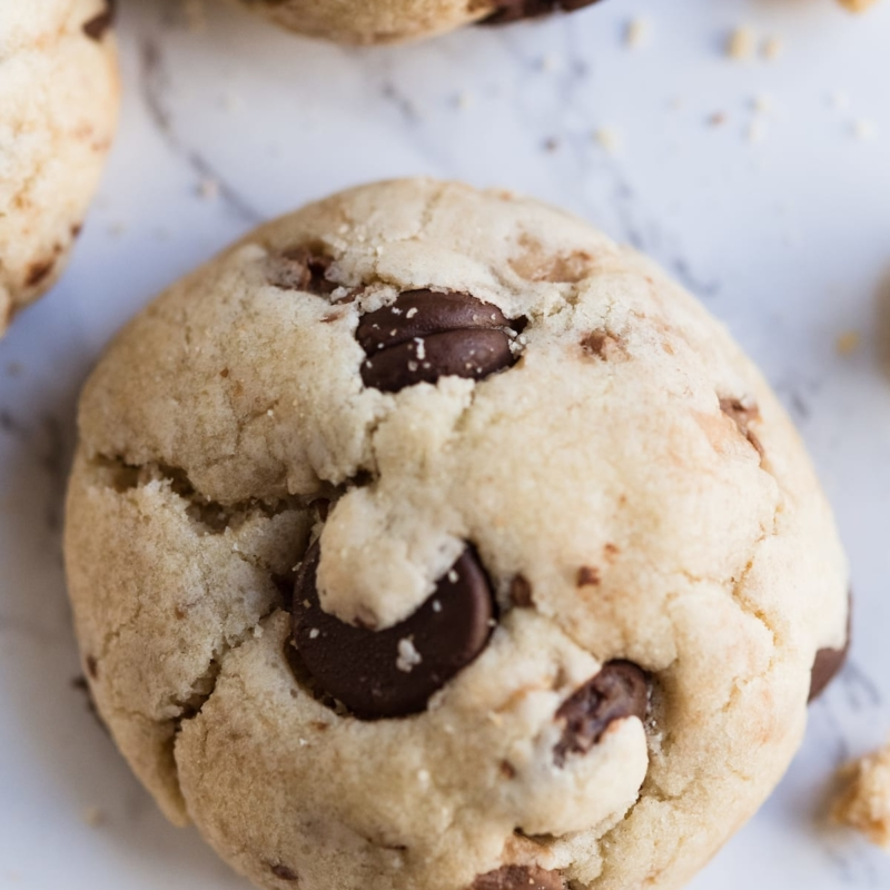 My New Favorite Dark Chocolate Chip + Toffee Cookies with Pecans