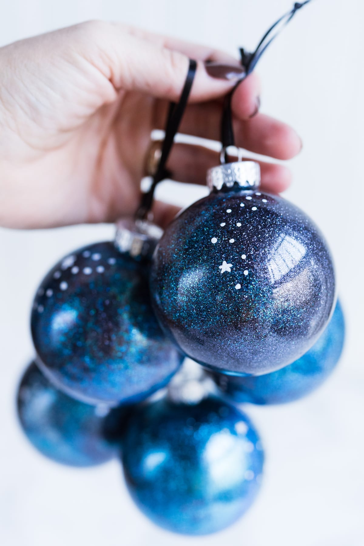 Deck the Halls with Glittery Galaxy Inspired Homemade Ornaments