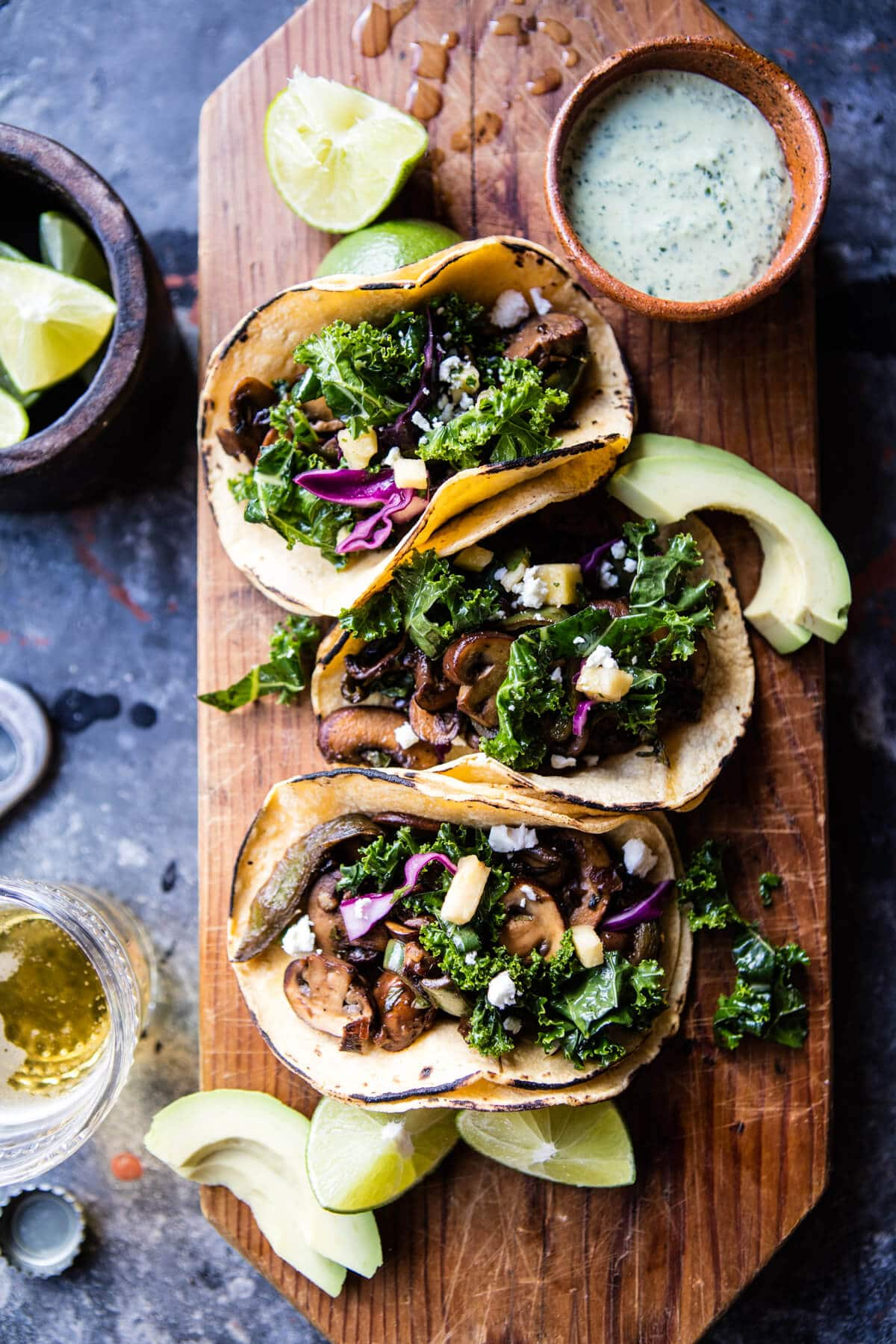 Poblano Mushroom Tacos | Vegetarian tacos, veggie tacos and party recipes from entertaining blog @cydconverse