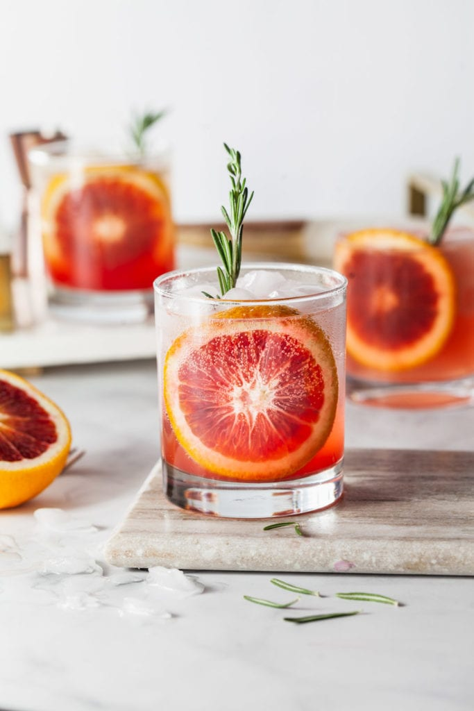 Blood Orange Vodka Sparkler | Winter Citrus Cocktail Recipes from Entertaining Blog @cydconverse
