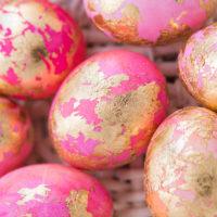 DIY Gold Leaf Shaving Cream Easter Eggs
