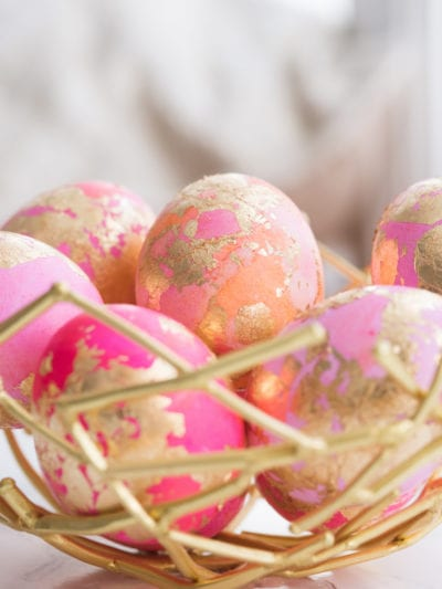 DIY Gold Leaf Shaving Cream Easter Eggs thumbnail