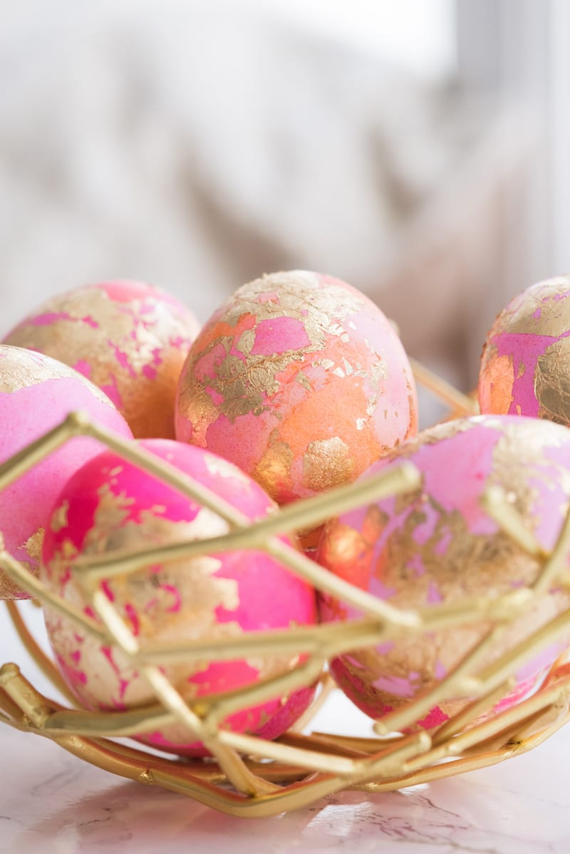 DIY Shaving Cream Easter Eggs with Gold Leaf from entertaining blog @cydconverse