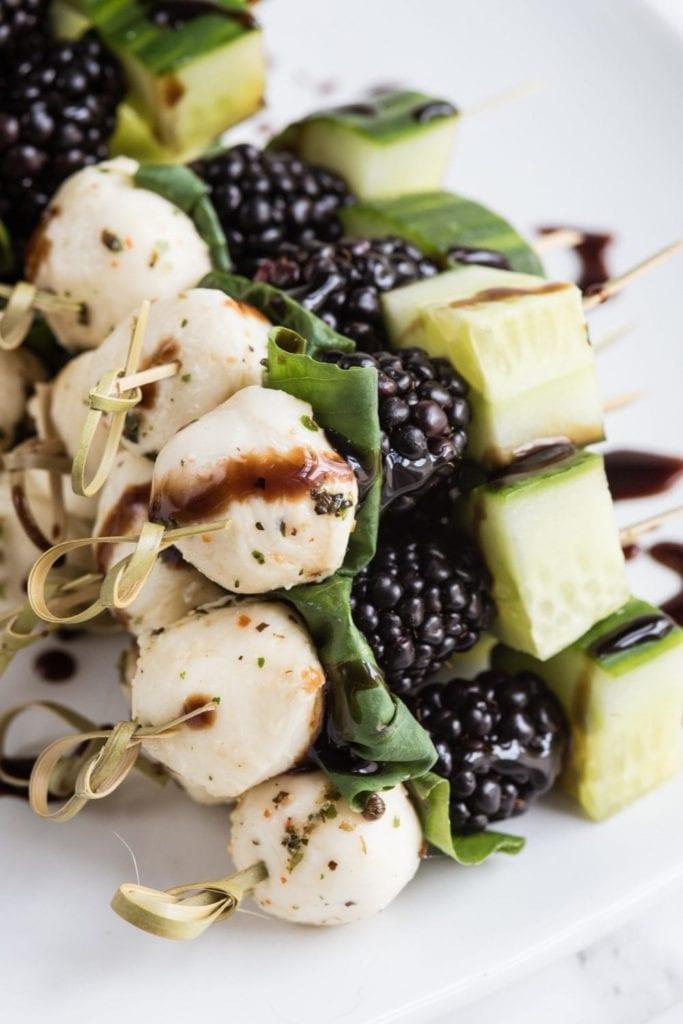 Party Appetizers: Blackberry Caprese Skewers Board (An easy summer appetizer!)