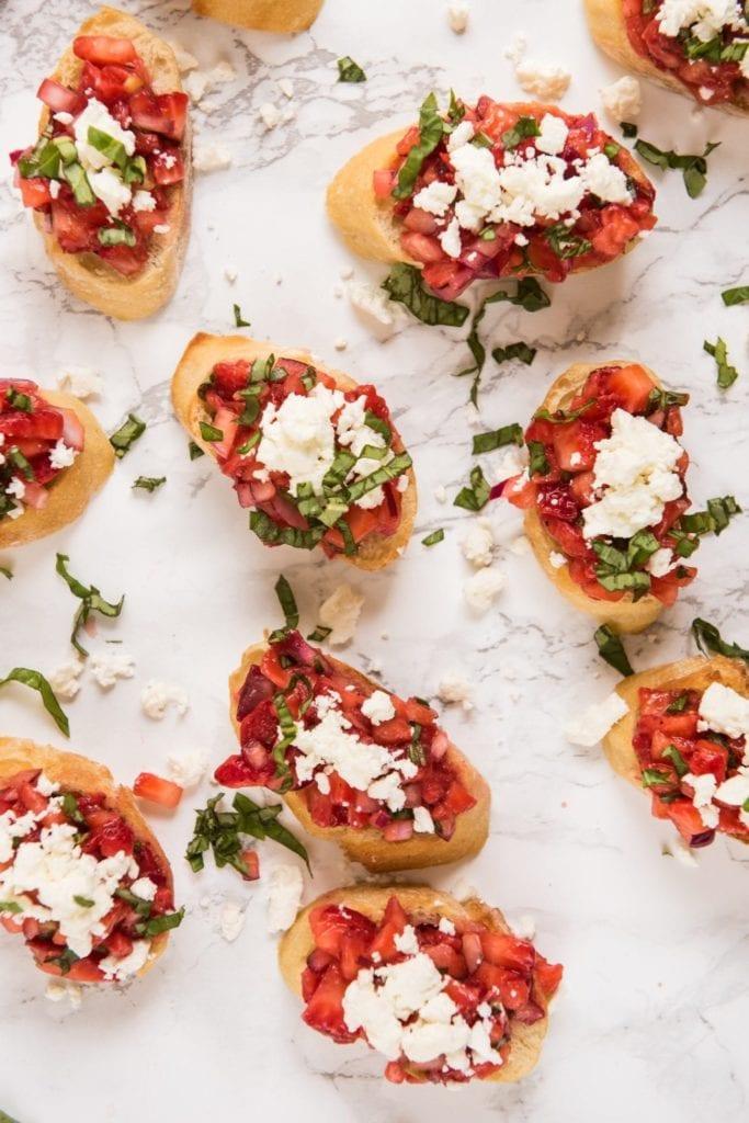 Party Appetizers: Strawberry Feta Bruschetta