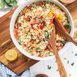 Mediterranean Orzo Salad with Feta thumbnail