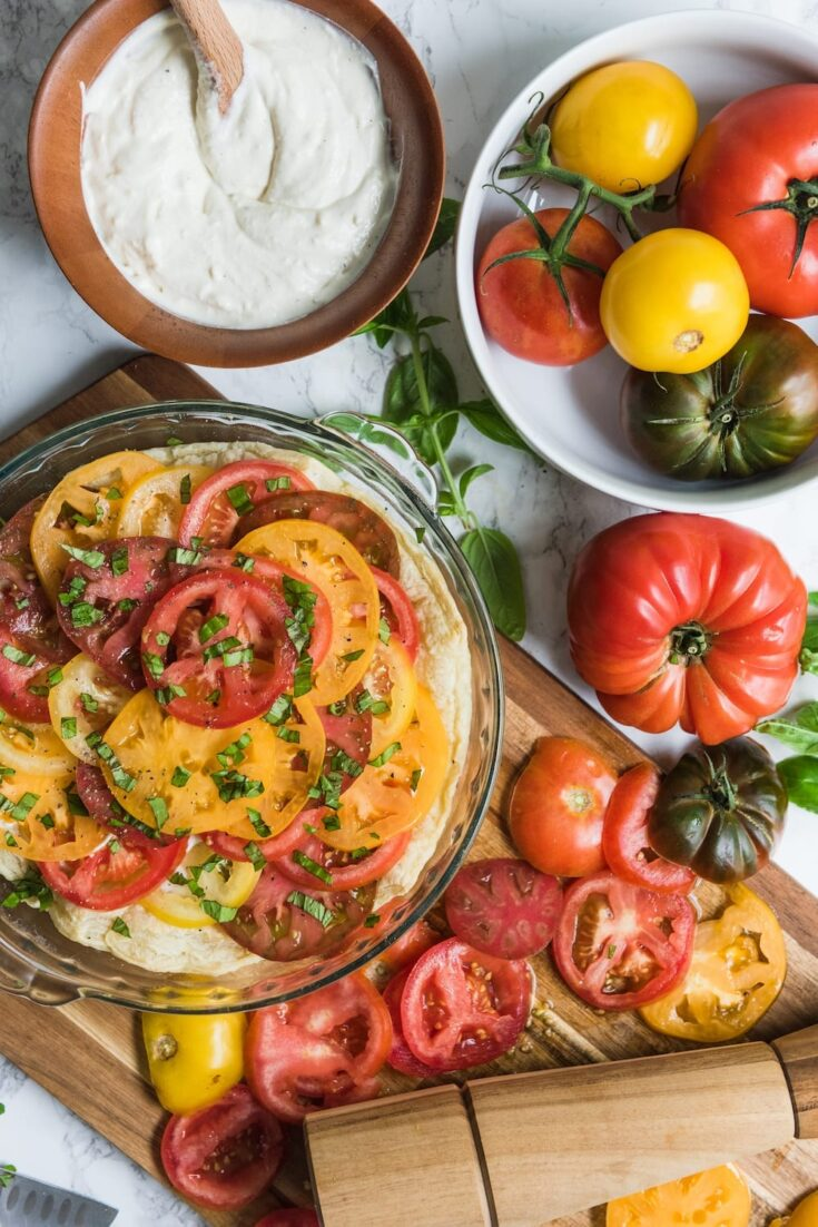 An easy tomato tart recipe with a creamy ricotta filling
