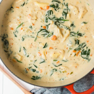 Creamy Tortellini Soup with Spinach thumbnail